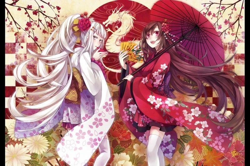 Аниме арт девушка в кимоно 001