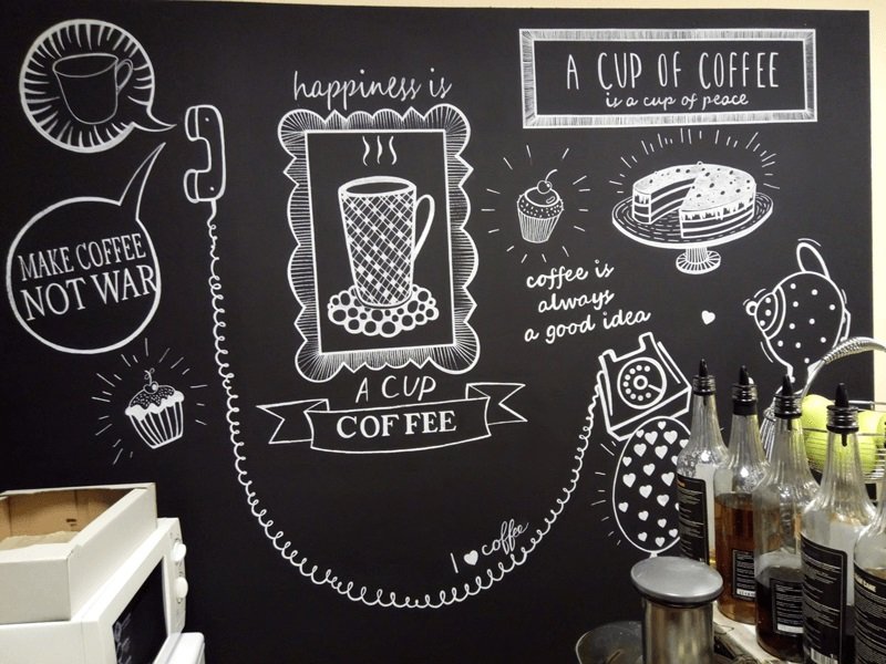 Меловые надписи в кафе 018