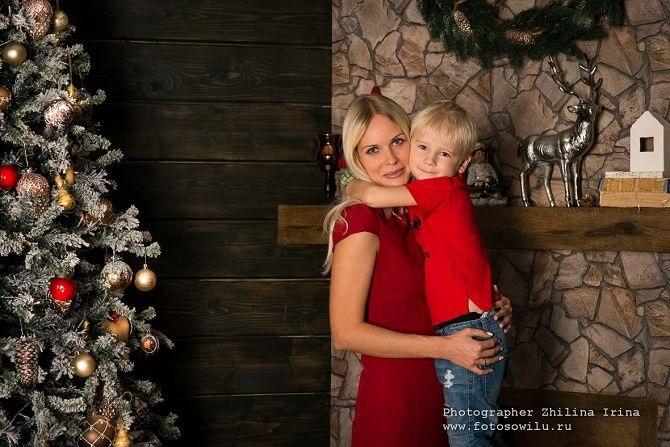 Новогодняя фотосессия мама и сын 004