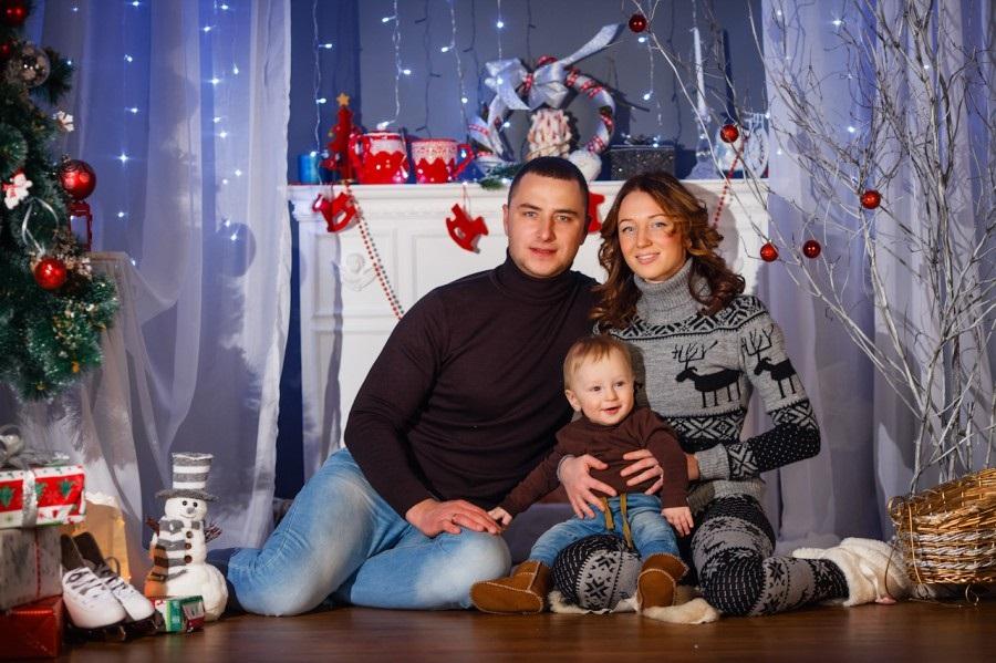 Новогодняя фотосессия мама и сын 009