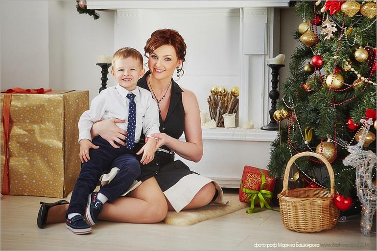 Новогодняя фотосессия мама и сын 013