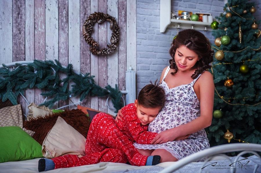 Новогодняя фотосессия мама и сын 014
