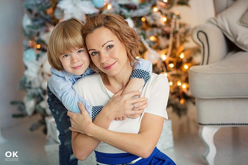 Новогодняя фотосессия мама и сын 015