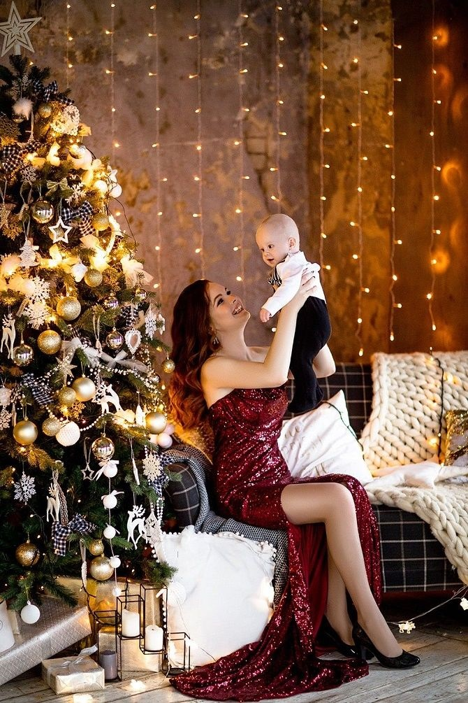 Новогодняя фотосессия мама и сын 022