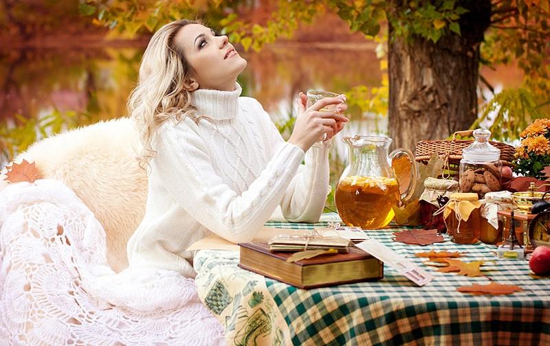 Осень девушка и плед 022