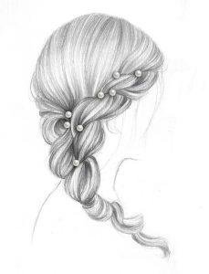 Рисунки девушек с прическами 027