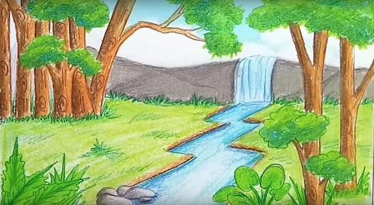 Рисунки красками пейзаж природы 001