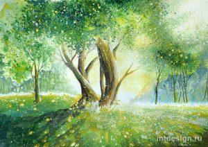 Рисунки красками пейзаж природы 026