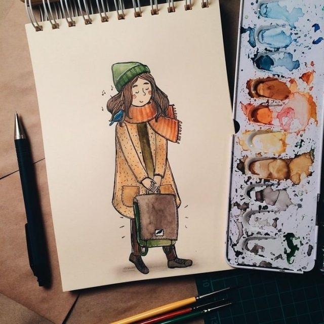 Рисунки осень для скетчбука 002