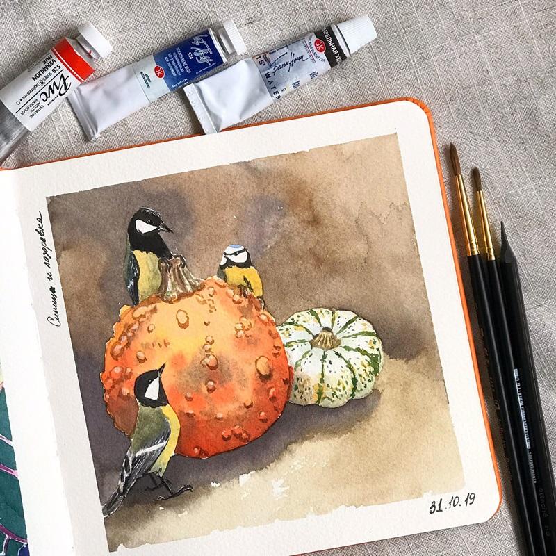 Рисунки осень для скетчбука 004
