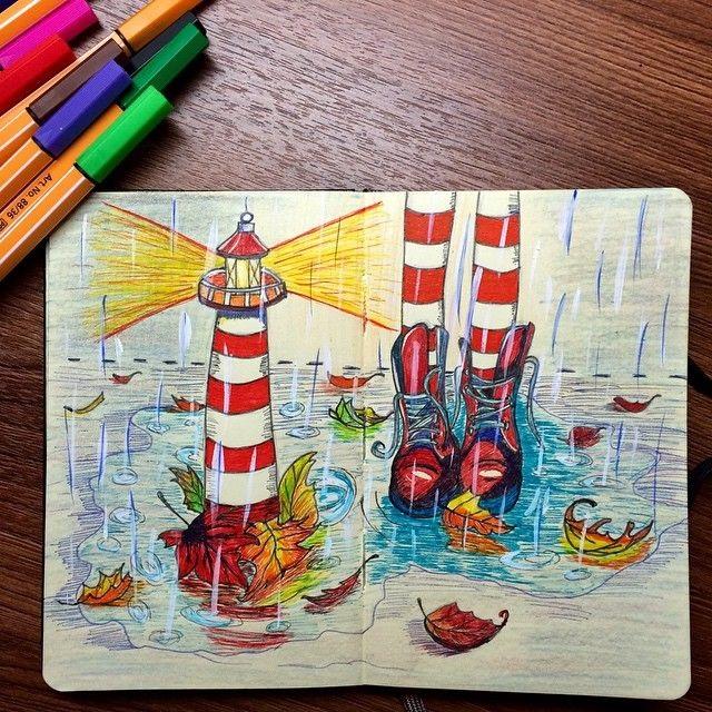 Рисунки осень для скетчбука 011