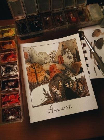 Рисунки осень для скетчбука 019