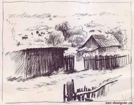 Рисунки пейзажи гелевой ручкой 001
