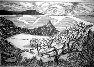 Рисунки пейзажи гелевой ручкой 020