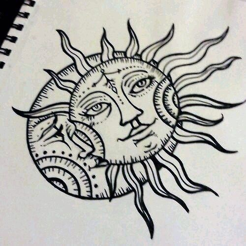 Рисунки солнца и луны 001
