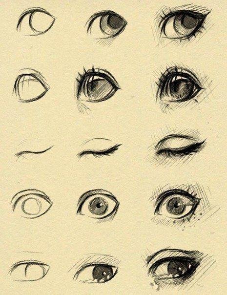 Скетчи аниме глаза 001