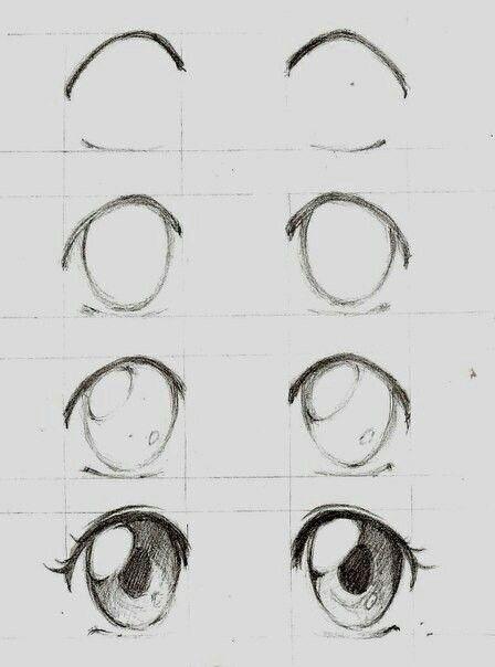 Скетчи аниме глаза 002