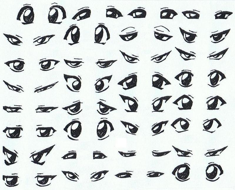 Скетчи аниме глаза 003