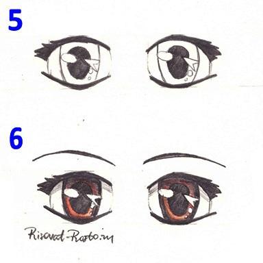 Скетчи аниме глаза 005