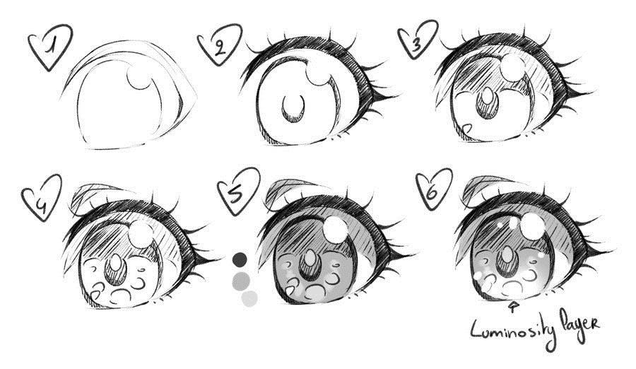 Скетчи аниме глаза 012