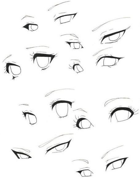 Скетчи аниме глаза 014