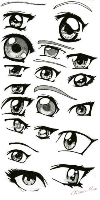 Скетчи аниме глаза 015