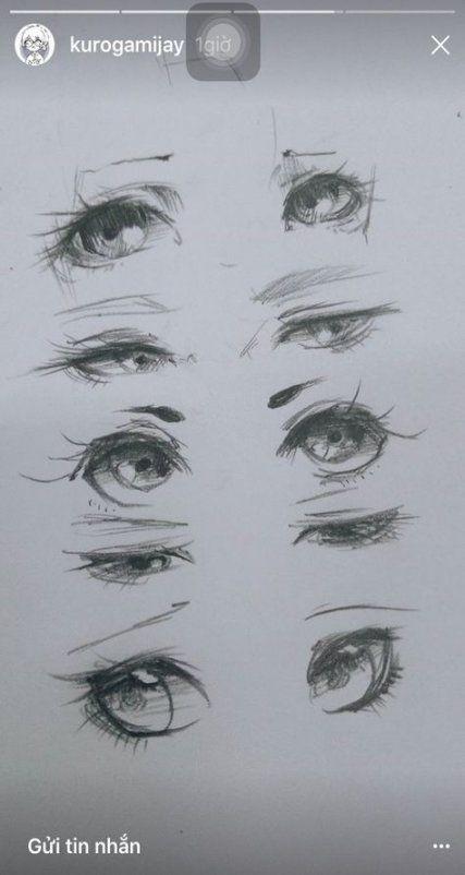 Скетчи аниме глаза 017