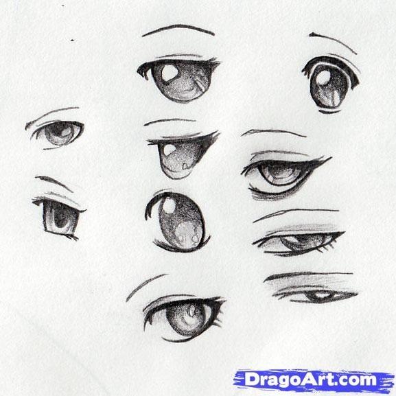 Скетчи аниме глаза 023