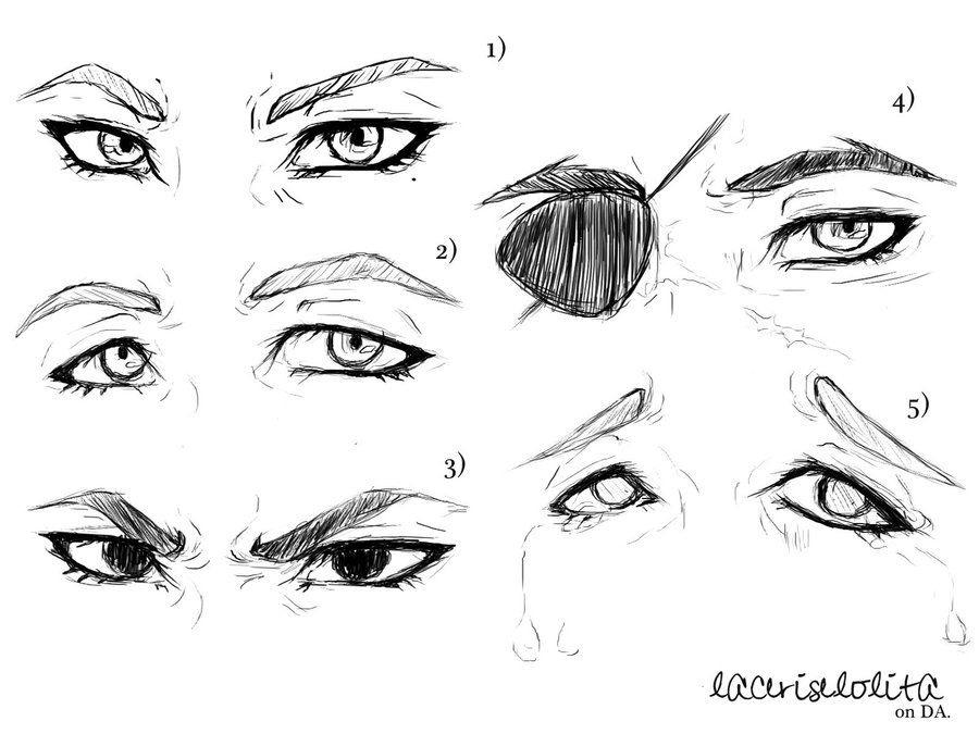 Скетчи аниме глаза 024