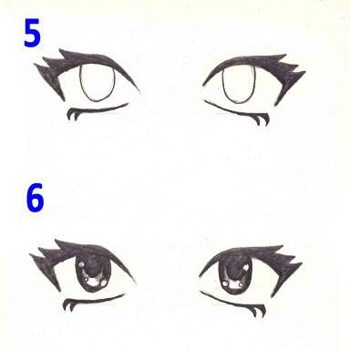 Скетчи аниме глаза 026