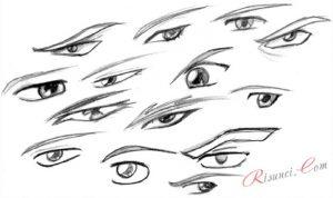 Скетчи аниме глаза 029