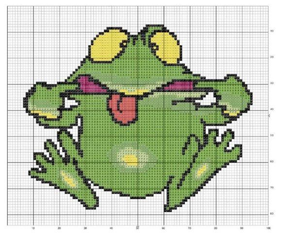 Схема лягушка вышивка 004