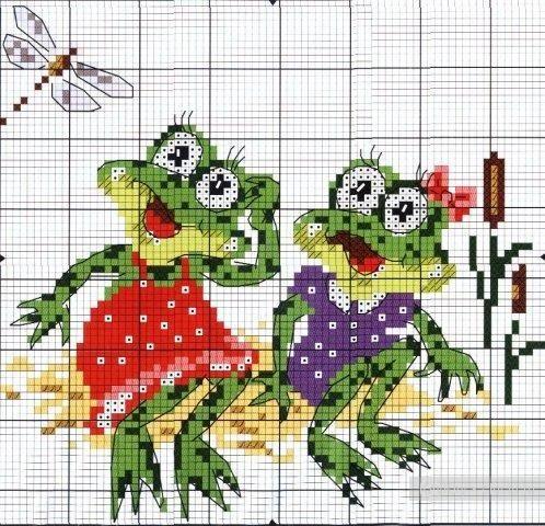 Схема лягушка вышивка 006