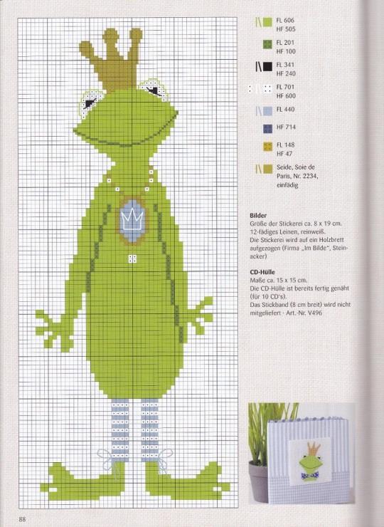 Схема лягушка вышивка 007