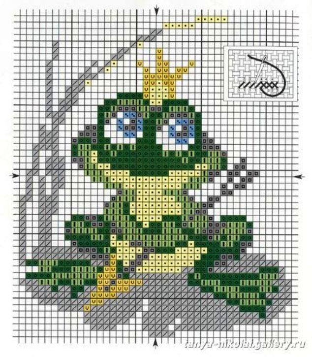Схема лягушка вышивка 008
