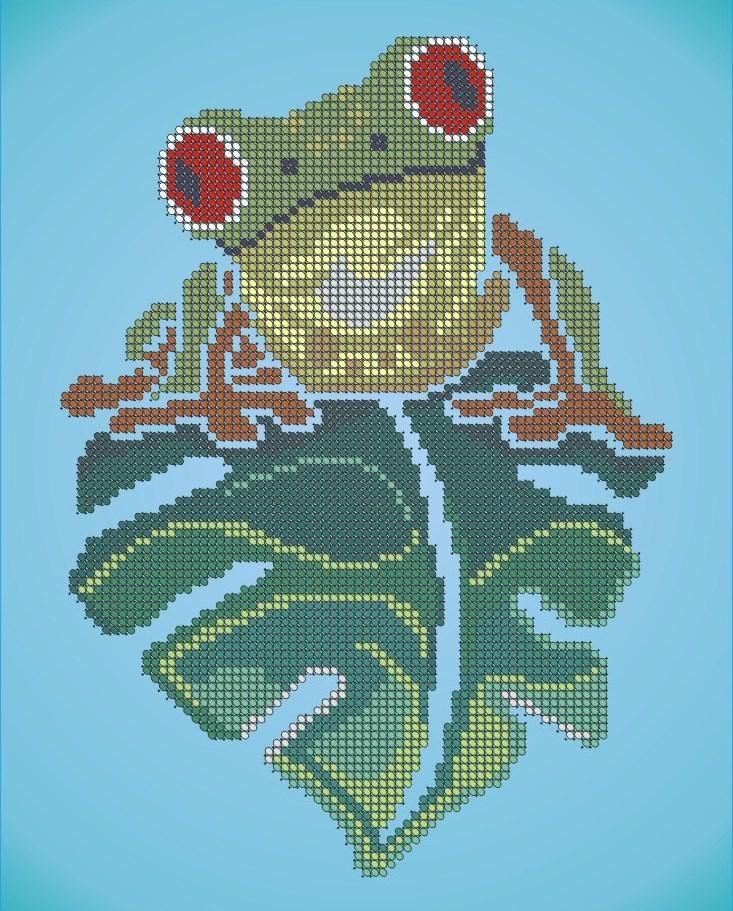 Схема лягушка вышивка 014