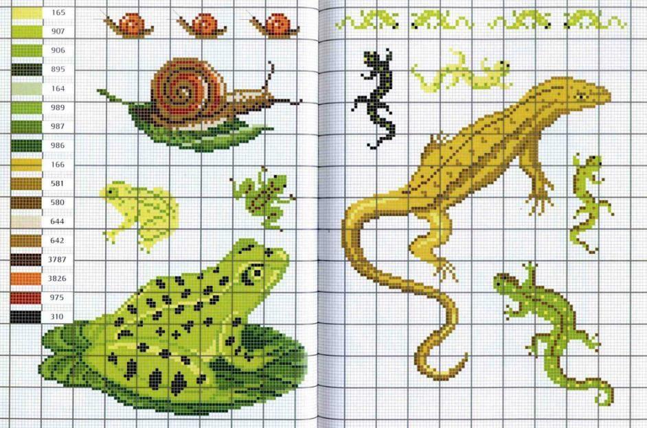 Схема лягушка вышивка 021