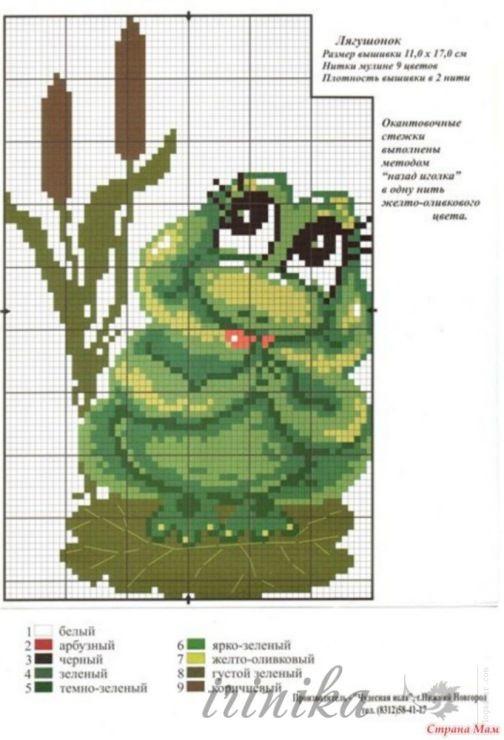 Схема лягушка вышивка 022
