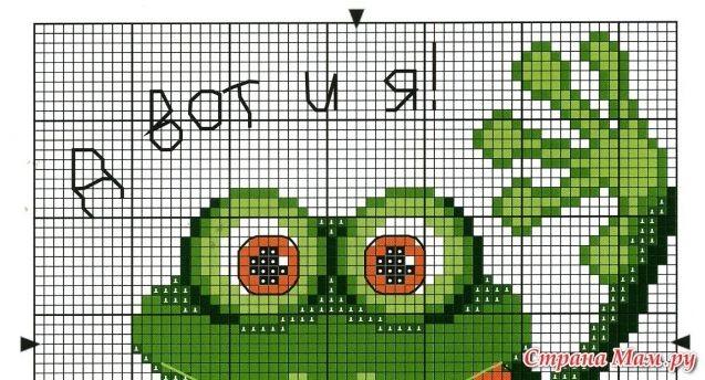 Схема лягушка вышивка 023