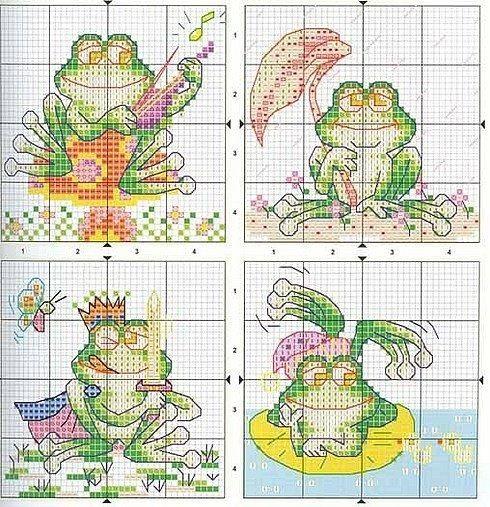 Схема лягушка вышивка 027