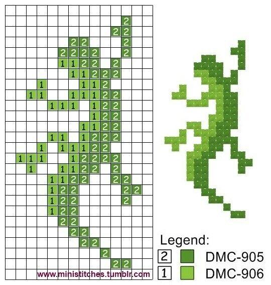 Схема ящерица вышивка 001