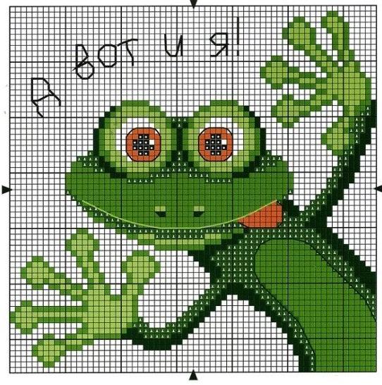 Схема ящерица вышивка 009