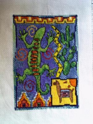 Схема ящерица вышивка 013