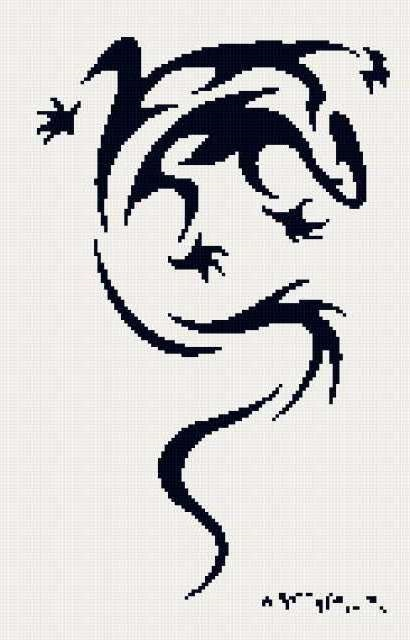 Схема ящерица вышивка 014