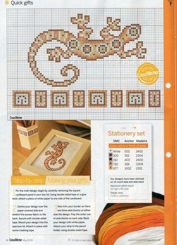 Схема ящерица вышивка 015