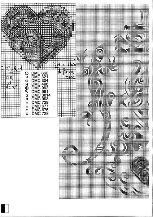 Схема ящерица вышивка 017