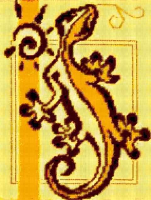 Схема ящерица вышивка 018