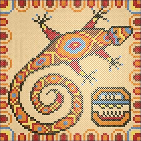 Схема ящерица вышивка 019