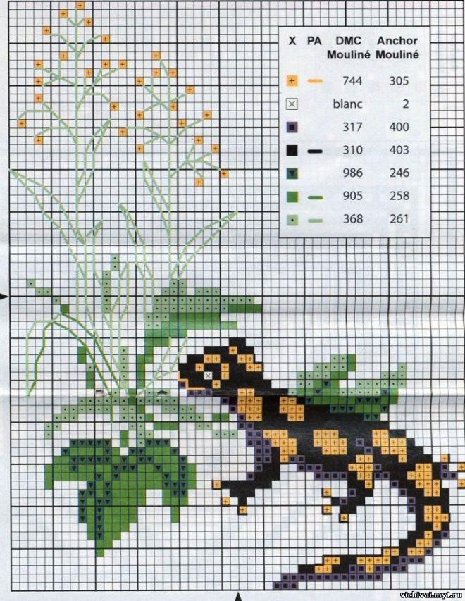 Схема ящерица вышивка 023