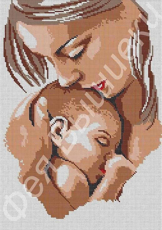 Схемы вышивки мать и дитя 004